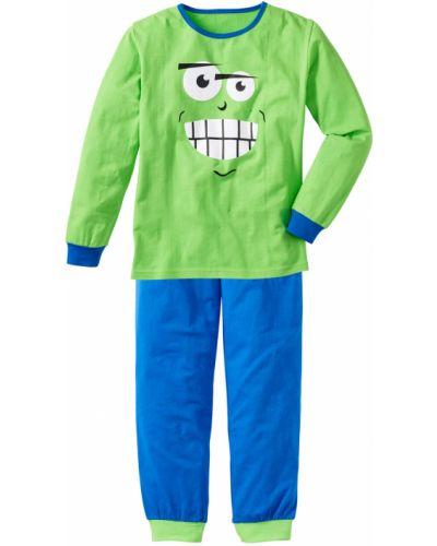 Пижама синяя зеленый Bonprix
