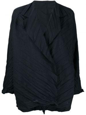 Синий удлиненный пиджак на пуговицах свободного кроя Issey Miyake