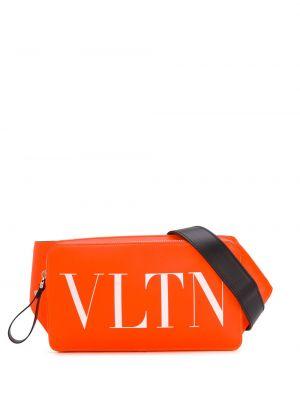 Pomarańczowy pasek skórzany z paskiem Valentino