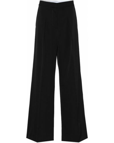 Czarny wełniany bezpłatne cięcie klasyczne spodnie z paskami Stella Mccartney