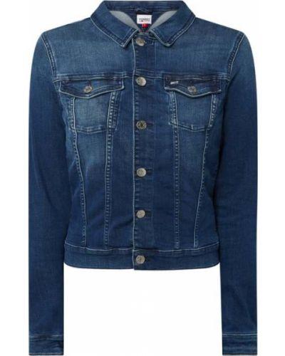 Niebieski bawełna kurtka jeansowa z kołnierzem Tommy Jeans