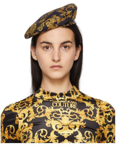 Трикотажный черный берет с подкладкой Versace Jeans Couture