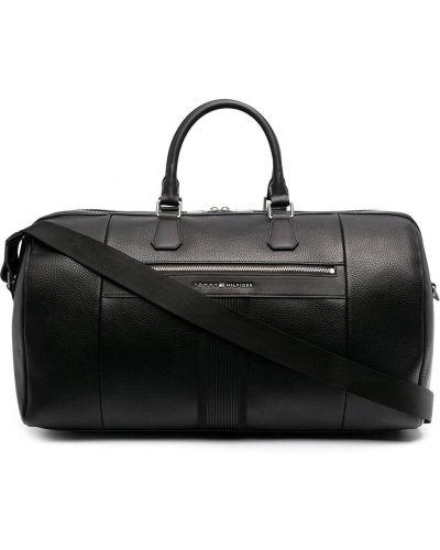 Черная дорожная сумка круглая металлическая Tommy Hilfiger