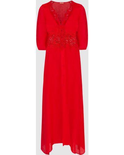 Льняное красное платье миди Ermanno Scervino