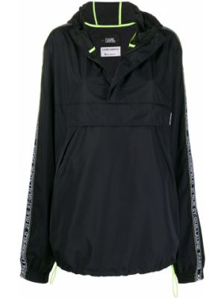 Черная ветровка с капюшоном на молнии Karl Lagerfeld