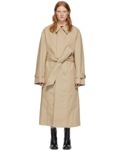 Коралловое длинное пальто с поясом с воротником на пуговицах Ami Alexandre Mattiussi