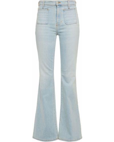 Хлопковые расклешенные синие джинсы Veronica Beard