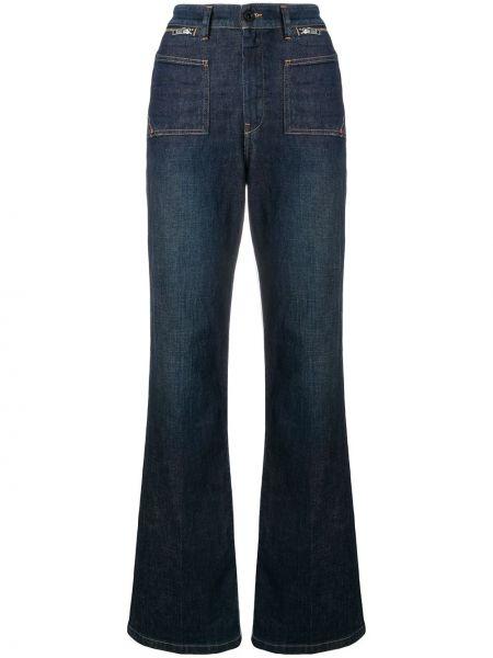 Расклешенные джинсы синие с карманами Diesel