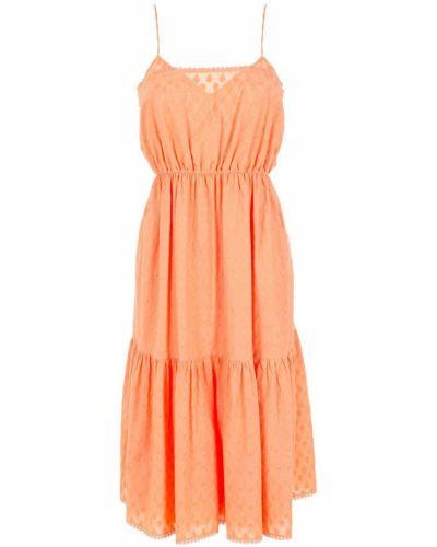 Оранжевое плиссированное платье НК
