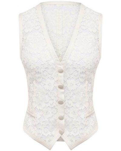 Хлопковая белая жилетка с подкладкой Dolce & Gabbana