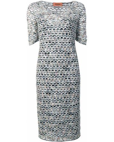 Платье мини трикотажное с V-образным вырезом Missoni