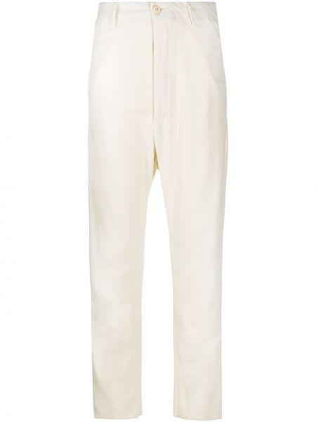 С завышенной талией хлопковые белые брюки Poème Bohèmien