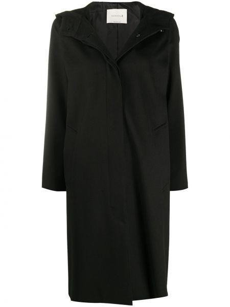 Шерстяное черное пальто классическое с капюшоном Mackintosh