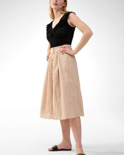 Szara spódnica midi rozkloszowana zapinane na guziki Orsay