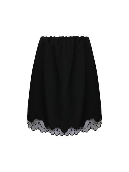 Черная юбка мини на резинке с оборками из фатина No. 21