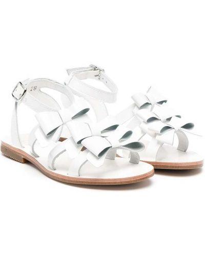 Белые кожаные сандалии с пряжкой Gallucci Kids