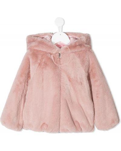 Розовая куртка с капюшоном из искусственного меха Il Gufo