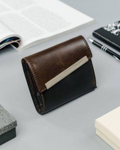 Brązowy portfel srebrny Lorenti