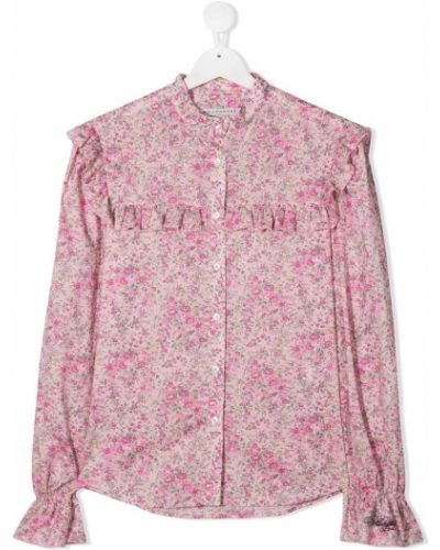 Розовая блузка со вставками с воротником Philosophy Di Lorenzo Serafini Kids