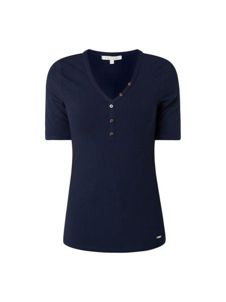 Niebieski t-shirt wąskie cięcie z wiskozy z dekoltem Tom Tailor Denim