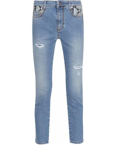 Укороченные джинсы синие с эффектом потертости Ermanno Scervino