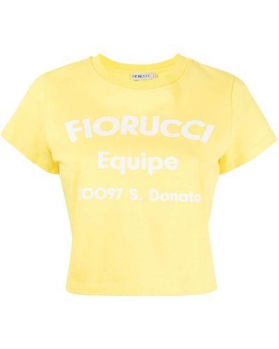 Żółta t-shirt z printem Fiorucci