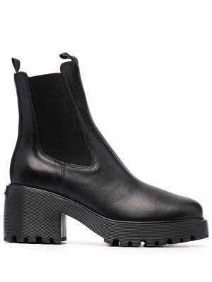 Кожаные ботинки челси - черные Hogan