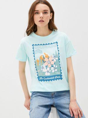Бирюзовая футболка с короткими рукавами Fine Joyce