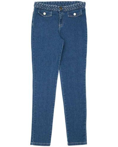 Bawełna niebieski skórzany jeansy z kieszeniami Chloe