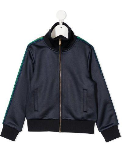 Спортивная синяя куртка в рубчик на молнии Zadig & Voltaire Kids
