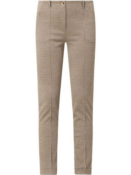 Beżowe spodnie z wiskozy w kratę Marc Cain