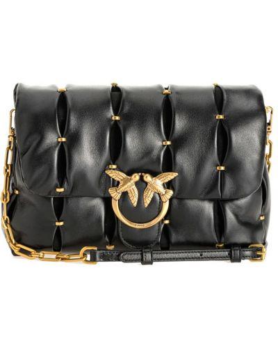 Złota torebka na łańcuszku - czarna Pinko