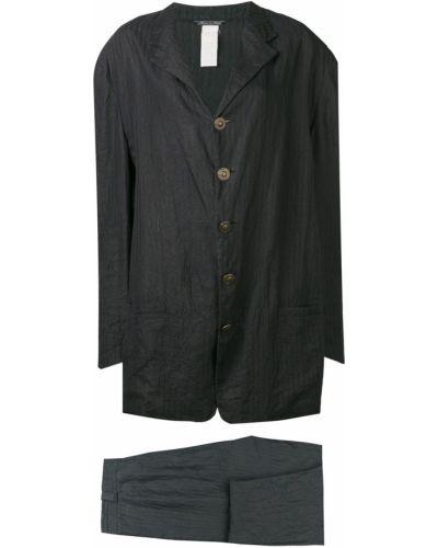 Lniany czarny garnitur w paski Versace Pre-owned