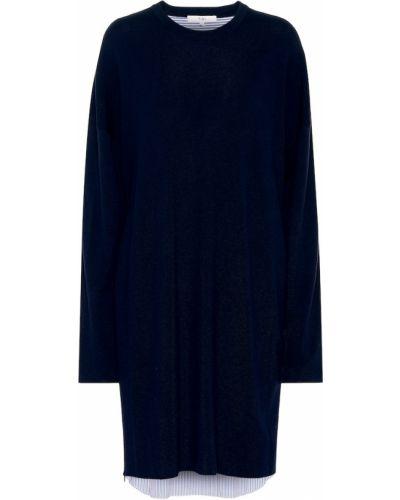 Niebieski bawełna wełniany koszula sukienka Tibi