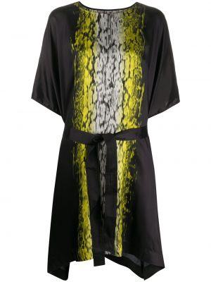 Czarny asymetryczny sukienka midi z wiskozy krótkie rękawy Rick Owens