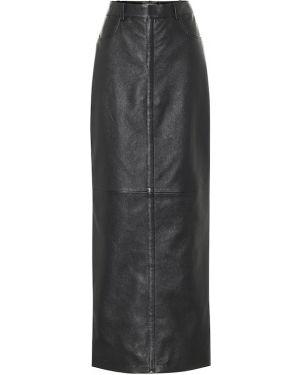 Черная вечерняя ажурная юбка макси из натуральной кожи Saint Laurent