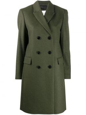 Зеленое прямое шерстяное пальто классическое с карманами Calvin Klein