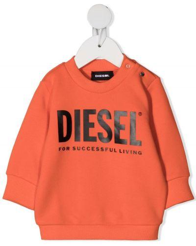 Черный свитшот круглый с длинными рукавами Diesel Kids
