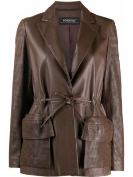 Коричневая кожаная куртка свободного кроя Simonetta Ravizza