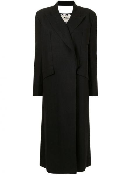 Шерстяное черное длинное пальто с лацканами Maison Rabih Kayrouz