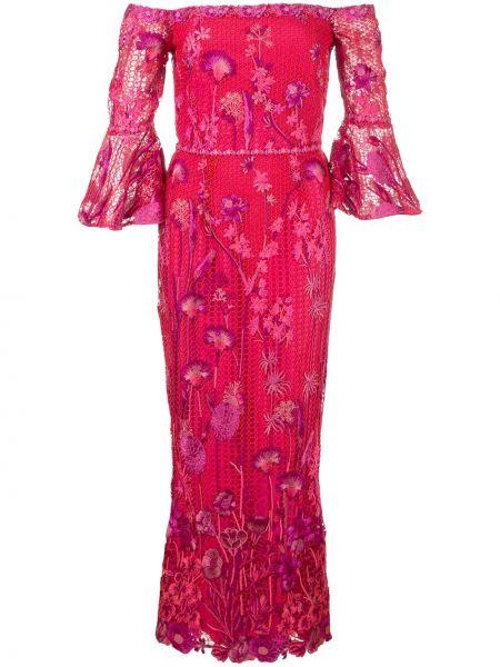 Платье миди розовое с цветочным принтом Marchesa Notte