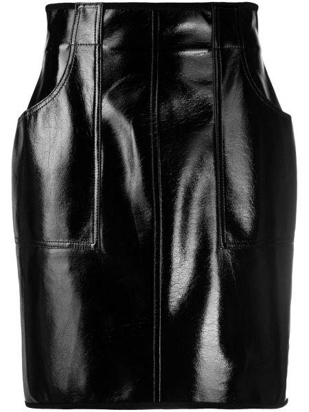 Черная с завышенной талией кожаная юбка мини Philosophy Di Lorenzo Serafini
