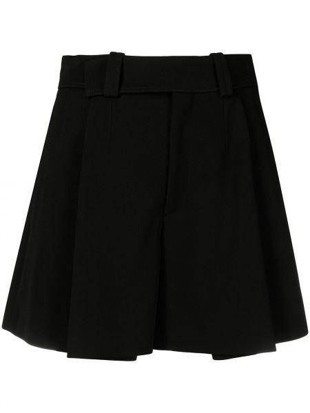 Шелковые черные с завышенной талией шорты Chloé