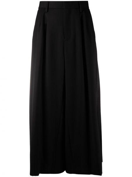 Плиссированная шерстяная черная юбка макси с поясом Comme Des Garçons Noir Kei Ninomiya