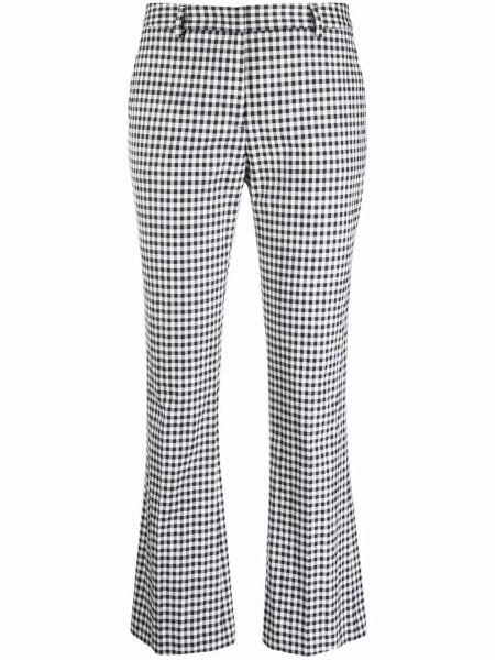 С завышенной талией хлопковые синие укороченные брюки Pt01