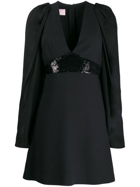 Czarna sukienka mini z długimi rękawami z haftem Giamba