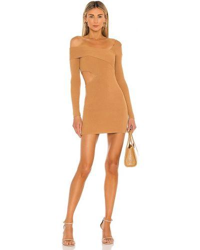 Платье на одно плечо - коричневое Nbd