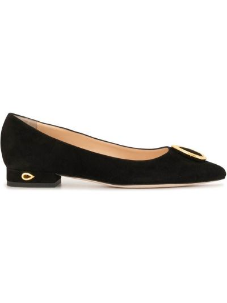 Золотистые кожаные черные балетки на каблуке Jennifer Chamandi