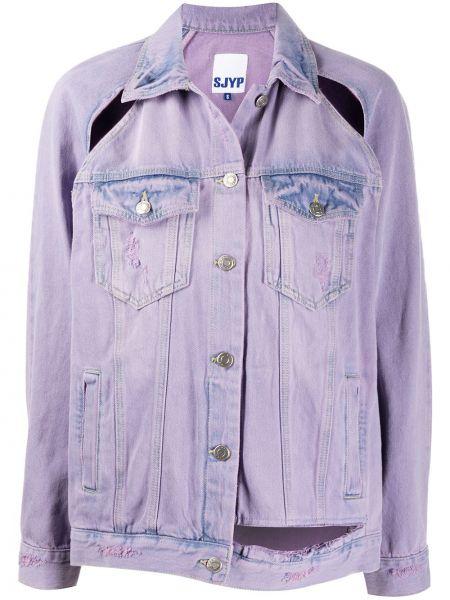 Хлопковая фиолетовая джинсовая куртка с воротником Sjyp
