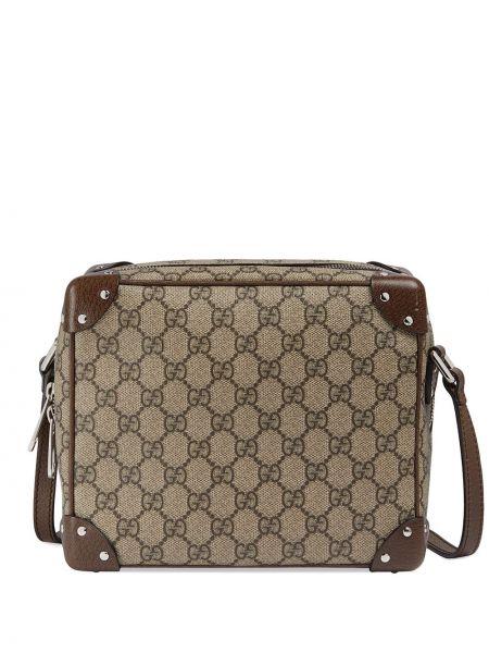 Brązowy bawełna z paskiem torba na ramieniu z prawdziwej skóry Gucci